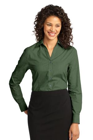 Port Authority - L640 Ladies Crosshatch Easy Care Button Down Shirt, Pensacola, Embroidery, Screen Printing, Logo Masters International