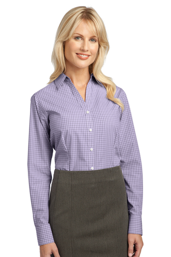 Port Authority Ladies Plaid Pattern Easy Care Button Down Shirt