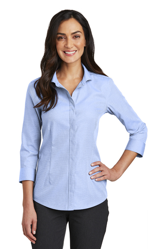 Red House Ladies 3/4-Sleeve Nailhead Non-Iron Button-Down Embroidered Shirt