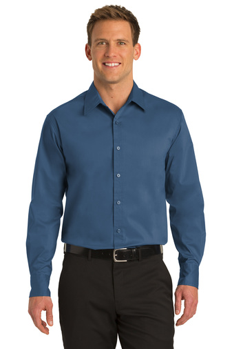 Port Authority Mens Stretch Poplin Embroidered Shirt