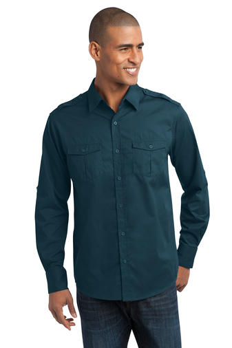 Port Authority - S649 Mens Stain-Resistant Roll Sleeve Embroidered Twill Shirt, Pensacola, Embroidery, Screen Printing, Logo Masters International