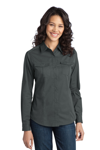 Port Authority - L649 Ladies Stain-Resistant Roll Sleeve Embroidered Twill Shirt