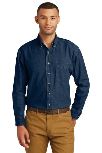 Port Authority Mens Long Sleeve Value Denim Embroidered Shirt