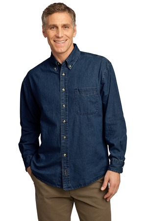 Port Authority - SP10 Mens Long Sleeve Value Denim Embroidered Shirt, Pensacola, Embroidery, Screen Printing, Logo Masters International
