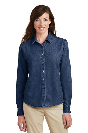 Port Authority - LSP10 Ladies Long Sleeve Value Denim Embroidered Shirt, Pensacola, Embroidery, Screen Printing, Logo Masters International