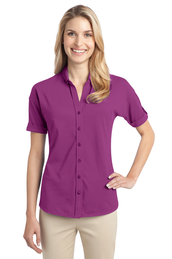 Port Authority - L556,  Ladies Stretch Pique Button-Front Shirt - Logo Masters International