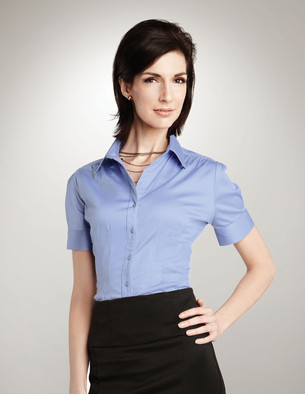 Lilac Bloom - LB755, Ladies Ashley Poly Spandex Pleated Shirt - Logo Masters International