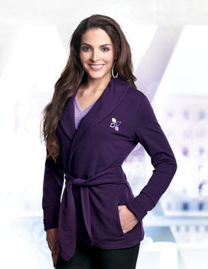 Lilac Bloom - LB673, Ladies Belted French Terry Sweater Jacket - Logo Masters International