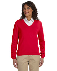 Devon & Jones - D475W, Ladies Air-Spun Cotton V-neck Sweater - Logo Masters International