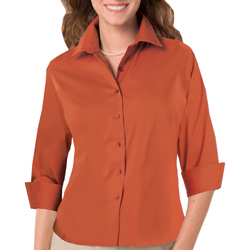 Ladies 3/4 Sleeve Fine Line Twill Shirt - Logo Masters International, Embroidery, Screen Printing