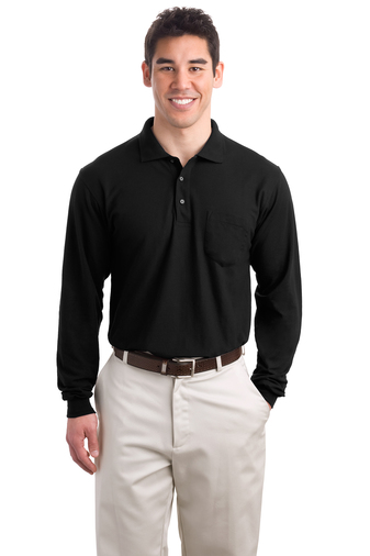 Men's Long-Sleeve Silk Touch Pocket Polo Shirt, Pensacola, Embroidery, Screen Printing, Logo Masters International