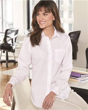 Van Heusen - 43397, Women's Broadcloth Long Sleeve Shirt - Logo Masters International