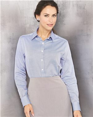 Van Heusen - 40797, Women's Long Sleeve Resin Finish Oxford Shirt - Logo Masters International