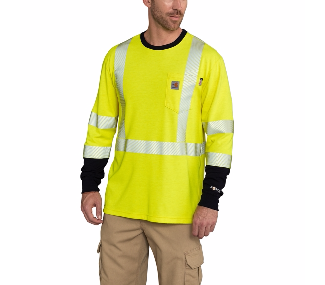 Carhartt - 102905 Men's Flame-Resistant High Visibility Force Long Sleeve T-Shirt Class 3, Pensacola, Embroidery, Screen Printing, Logo Masters International
