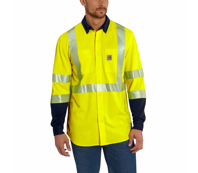 Carhartt - 102843 Men's Flame-Resistant High Visibility Force Hybrid Shirt, Pensacola, Embroidery, Screen Printing, Logo Masters International