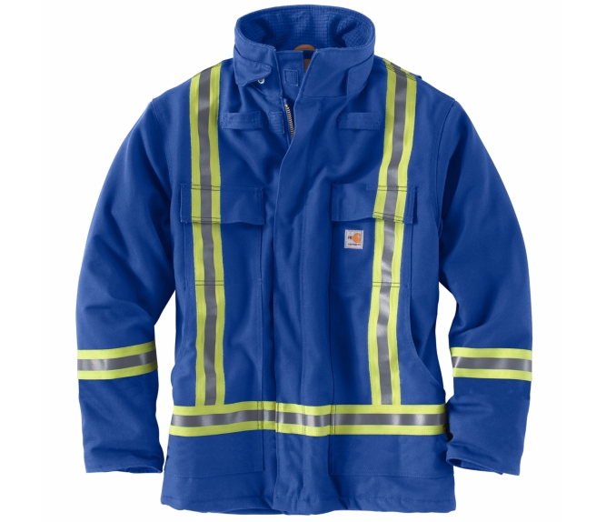 Carhartt - 101695, Men's Flame-Resistant Striped Duck Traditional Coat/ Quilt-Lined  - Logo Masters International