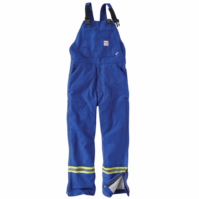 Carhartt - 101628 Men's Flame-Resistant Striped Duck Bib Overall/Quilt-Lined, Pensacola, Embroidery, Screen Printing, Logo Masters International