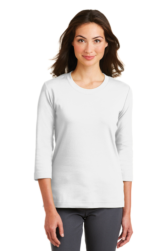 Port Authority - L517, Women's Embroidered Stretch Cotton 3/4 Sleeve Scoop Neck T-Shirt  - Logo Masters International