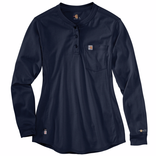 Carhartt - 102686, Women's Flame-Resistant Force Cotton Long-Sleeve Henley  - Logo Masters International