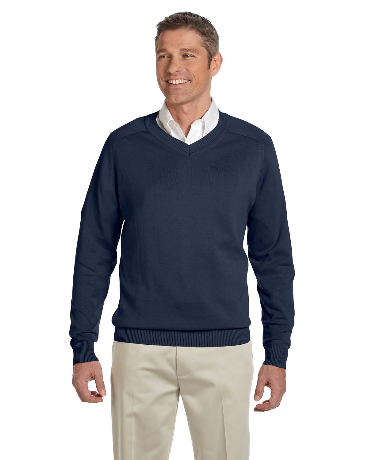 Devon & Jones - D475 Men's V-Neck Sweater, Pensacola, Embroidery, Screen Printing, Logo Masters International
