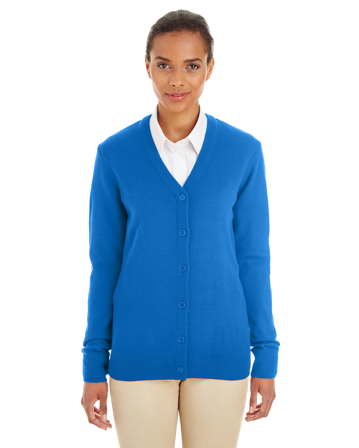 Harriton - M425W, Ladies' Pilbloc V-Neck Button Cardigan Sweater - Logo Masters International