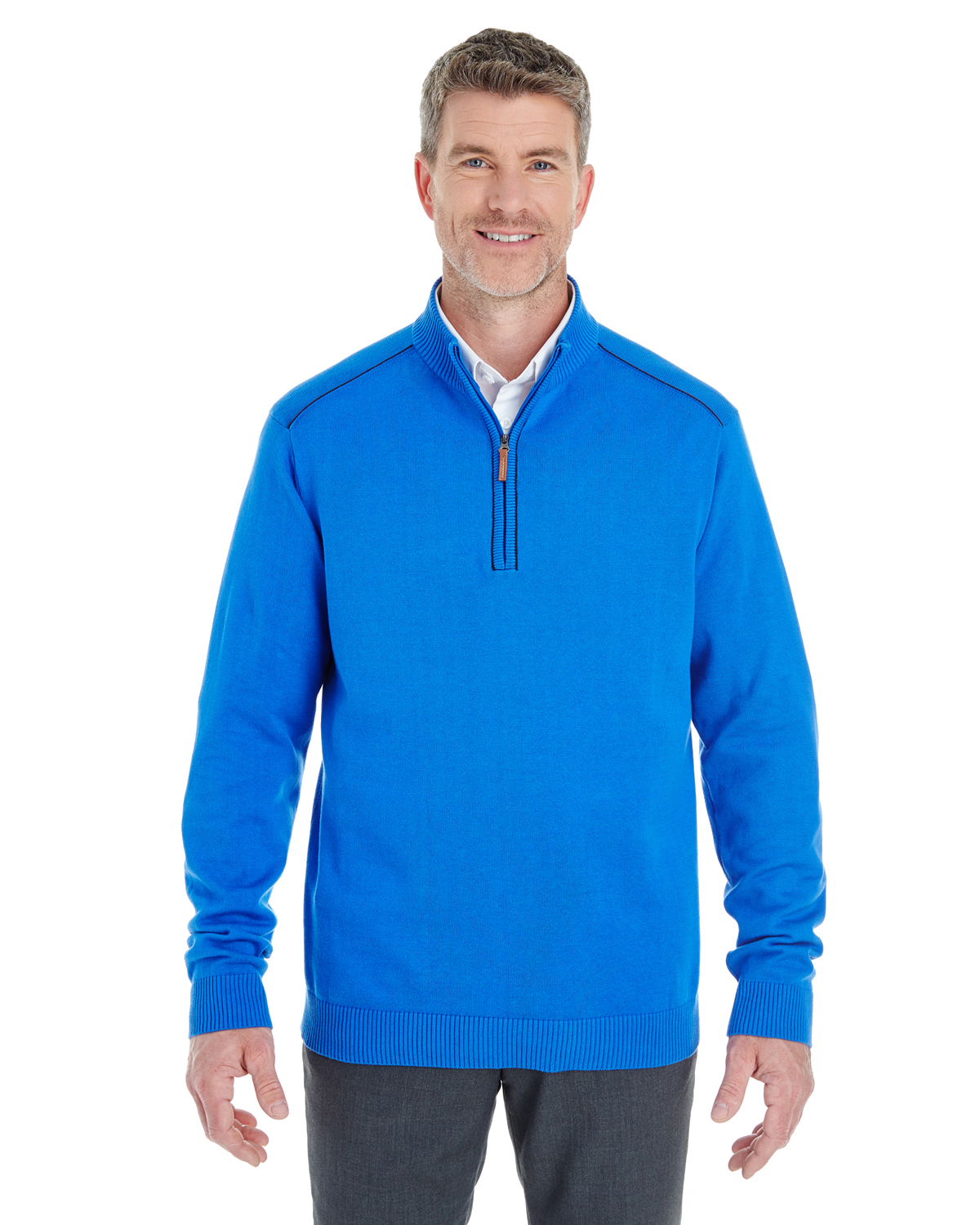 Devon & Jones - DG478 Men's Manchester Fully-Fashioned Quarter-Zip Sweater, Pensacola, Embroidery, Screen Printing, Logo Masters International