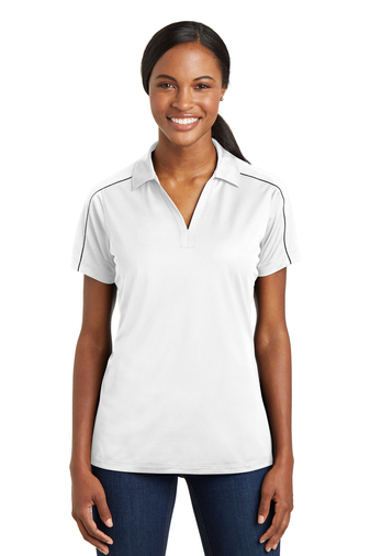 Sport-Tek - LST653, Ladies Micropique Sport-Wick Piped Polo, Embroidery, Screen Printing - Logo Masters International