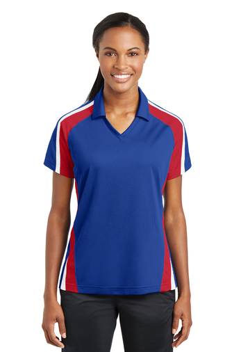 Sport-Tek - LST654, Ladies Tricolor Micropique Sport-Wick Polo, Embroidery, Screen Printing - Logo Masters International