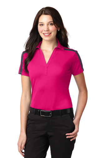 Port Authority - L547 Ladies Silk Touch Performance Colorblock Stripe Polo, Pensacola, Embroidery, Screen Printing, Logo Masters International