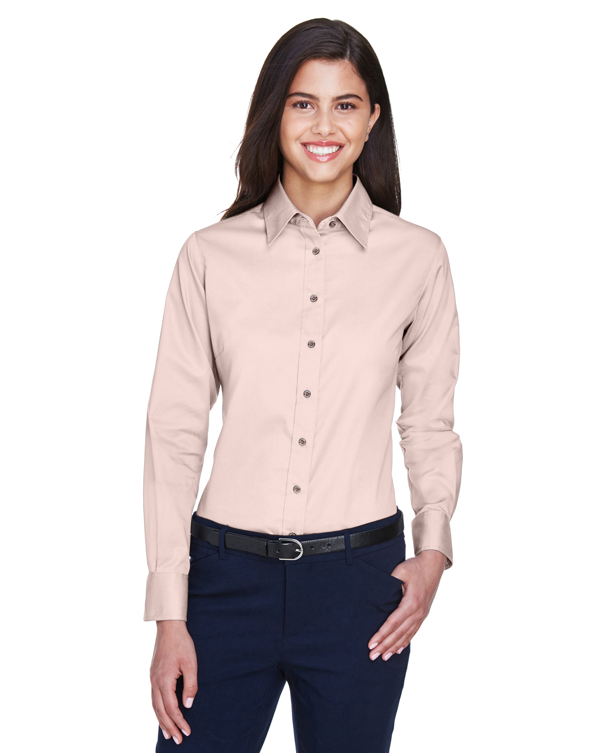 Harriton Women's Embroidered Long-sleeve Twill Shirt with Stain Release