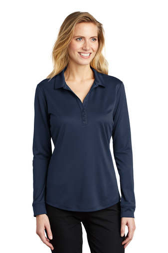 Ladies Silk Touch Performance Long Sleeve Polo, Embroidery, Screen Printing, Pensacola, Logo Masters International
