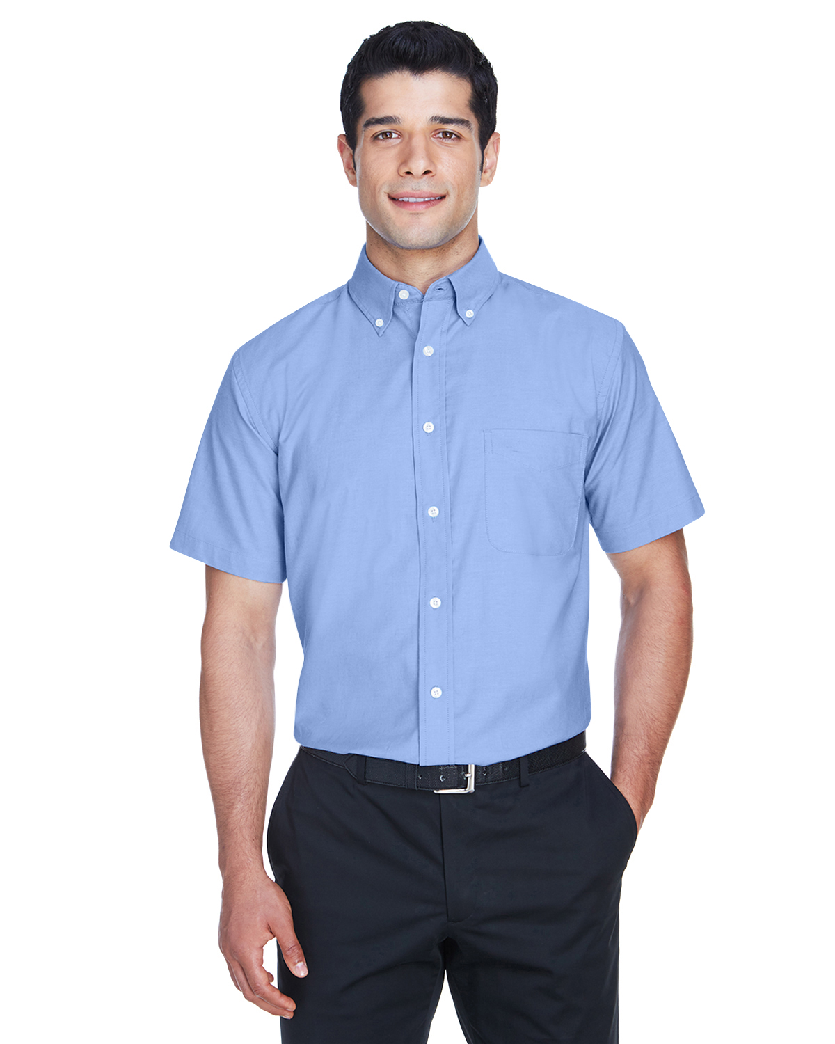 Harriton Men's Embroidered Short-Sleeve Oxford Shirt with Stain Release
