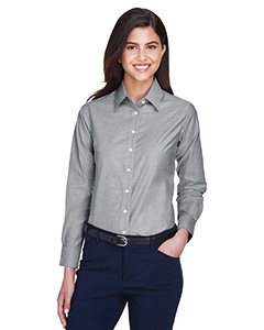 Harriton Women's Long-Sleeve Oxford Shirt with Stain Release