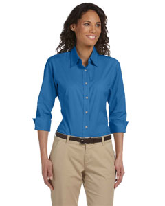 Devon & Jones - DP625W Ladies Embroidered 3/4 Sleeve Stretch Poplin Shirt