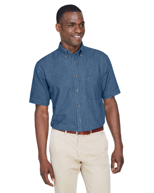 Harriton Men's Embroidered Short-Sleeve Denim Shirt
