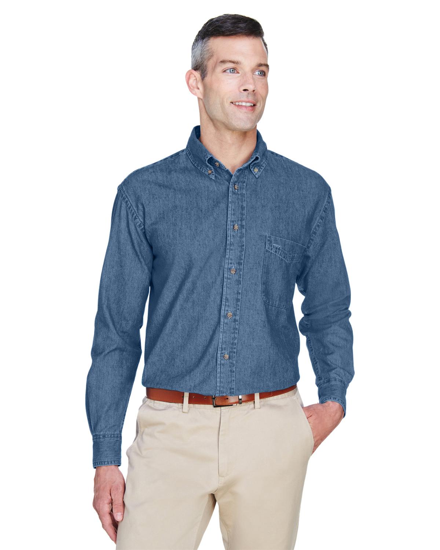 Harriton Men's Embroidered Long-Sleeve Denim Shirt
