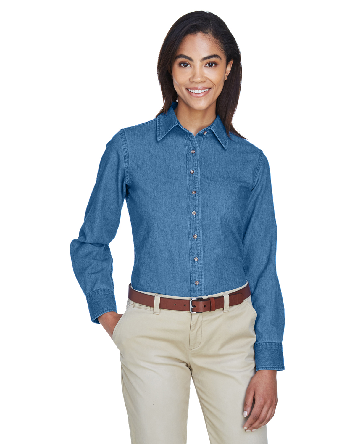 Harriton Women's Long-Sleeve Denim Shirt