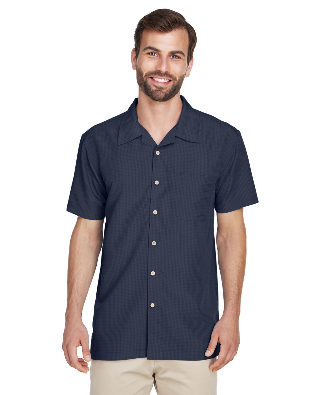 Harriton Embroidered Mens Barbados Textured Camp Shirt
