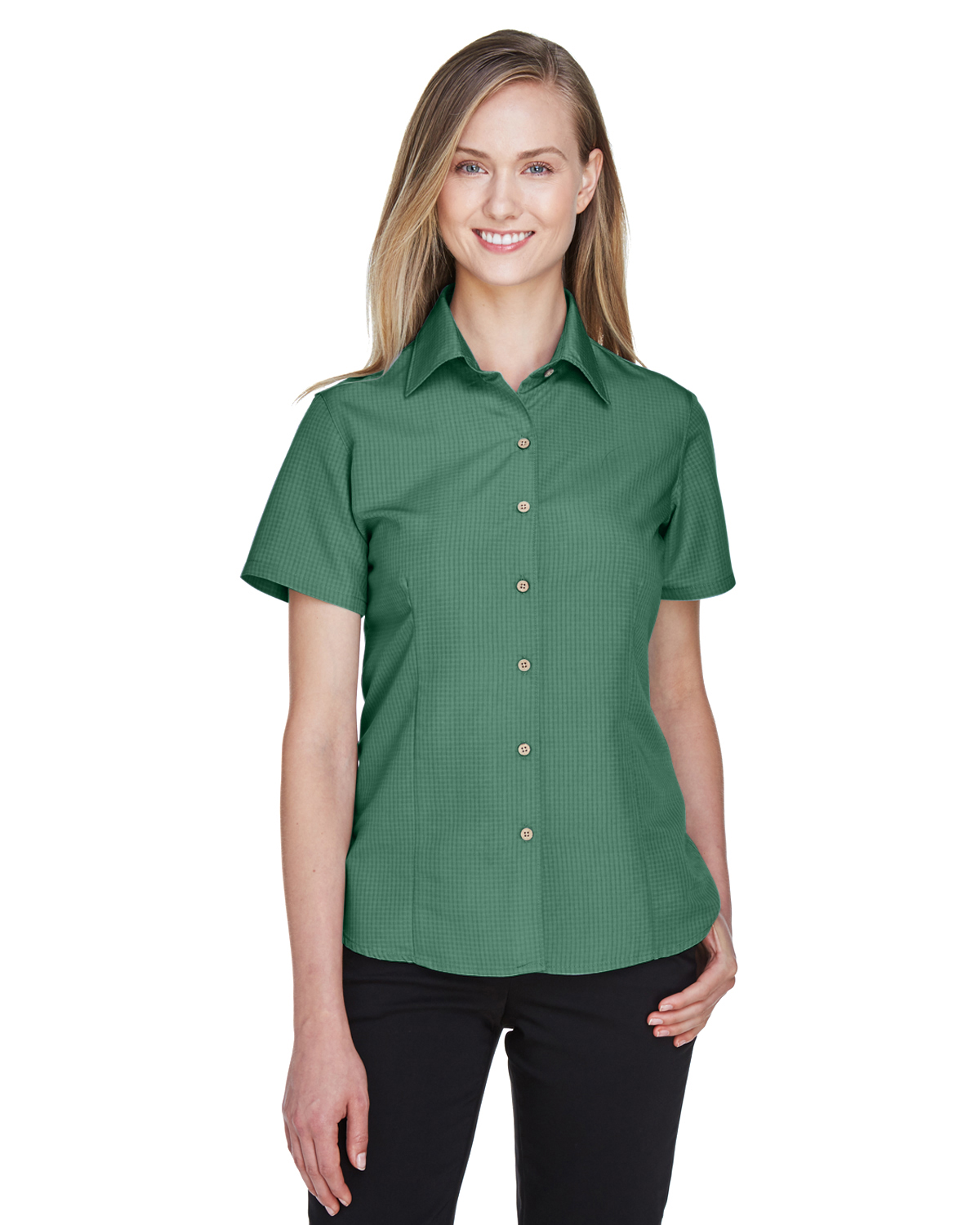 Harriton Women's Embroidered Barbados Textured Camp Shirt