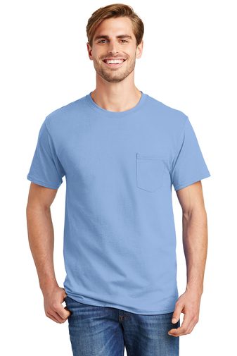Hanes - 5590, Adult Screen Printed Tagless 100% Cotton T-Shirt with Pocket, Embroidery, Screen Printing - Logo Masters International