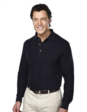Tri-Mountain Men's Big & Tall Embroidered 60/40 Long-sleeve Pique Polo