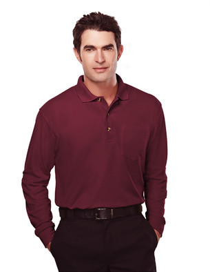 Tri-Mountain Men's Big & Tall Embroidered Long-sleeve Heavyweight Pique Pocket Polo Shirt