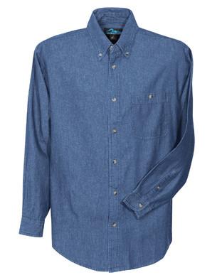 Tri-Mountain Men's Big & Tall Stonewashed Embroidered Denim Shirt