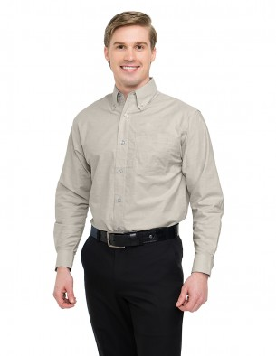 Tri-Mountain Men's Big & Tall Easy Care Oxford Long-sleeve Embroidered Shirt