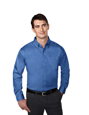 Tri-Mountain Men's Big & Tall Wrinkle-Free Pinpoint Oxford Embroidered Shirt