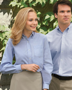 Van Heusen - 13v0002, Van Heusen Ladies Long-Sleeve Wrinkle-Resistant Oxford Shirt - Logo Masters International