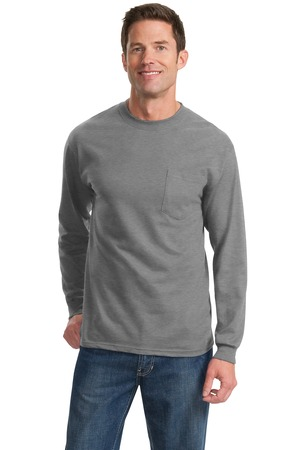 Gildan - 2410 Adult Screen Printed 6.1 oz. Ultra Cotton Long-sleeve Pocket T-shirt