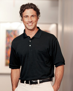 Harriton - M265P Men's 5.6 oz. Easy Blend Polo with Pocket