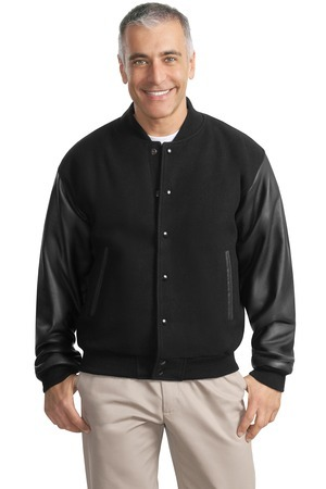 Port Authority - J783 Men's Wool and Leather Letterman Jacket, Pensacola, Embroidery, Screen Printing, Logo Masters International
