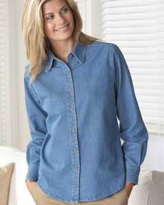 Harriton - M550W, Long-sleeve Women's Denim Shirt - Logo Masters International